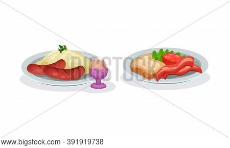 Sausages With Mashed Potato And Sliced Bacon With Toast Served On Plate Vector Set