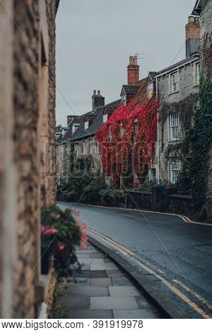 Row Of Old Stone Houses On A Street In Frome, Somerset, Uk, On An Autumn Day, Colourful Foliage, Sel