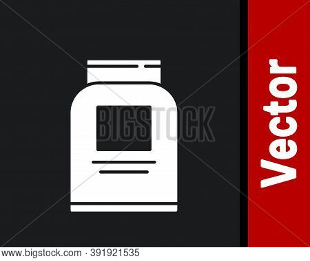 White Sports Nutrition Bodybuilding Proteine Power Drink And Food Icon Isolated On Black Background.