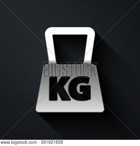 Silver Weight Icon Isolated On Black Background. Kilogram Weight Block For Weight Lifting And Scale.