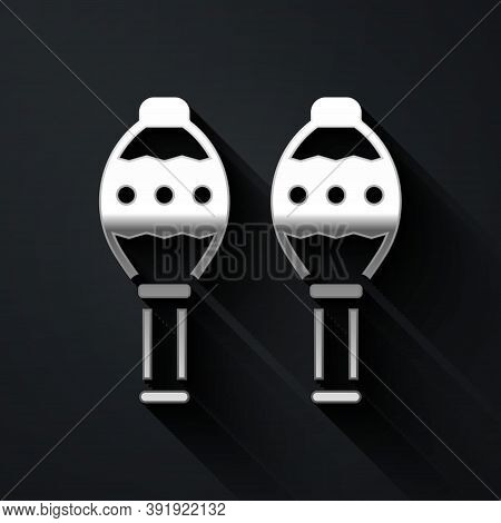 Silver Maracas Icon Isolated On Black Background. Music Maracas Instrument Mexico. Long Shadow Style
