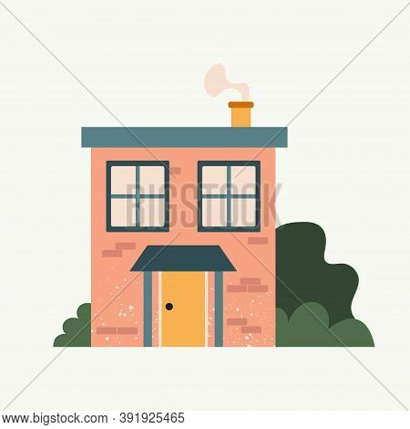 Cartoon Cottage. Hand Drawn Home Facade With Texture Frond View, Cute Bright Townhouse And Family Ho