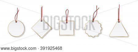 Price Or Label Tags Mockup Template Set. Blank Cards With Red Strings For Gifts Or Sales With Differ