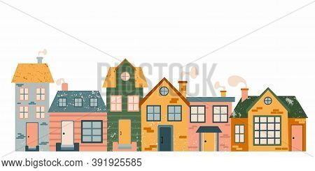Cartoon Cottage Set. Hand Drawn Home Facade Street With Texture Frond View, Cute Bright Townhouse An