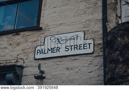Street Name Sign On A Brick Wall Of A Building On Palmer Street In St Catherines Artisan Quarter In