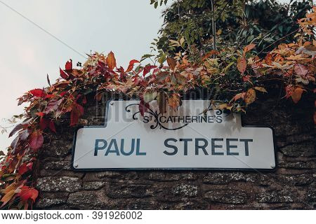 Street Name Sign On A Brick Wall Of A Building On Paul Street In St Catherines Artisan Quarter In Fr