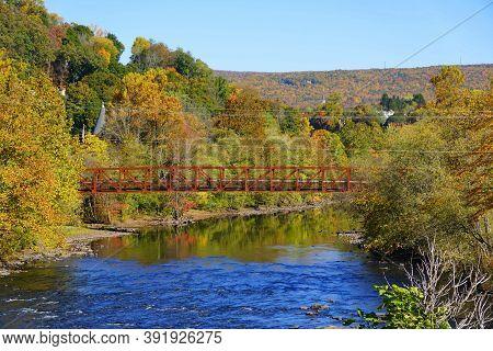 Striking Colors Of Fall Foliage Near Lehigh River, Jim Thorpe, Pennsylvania, U.s