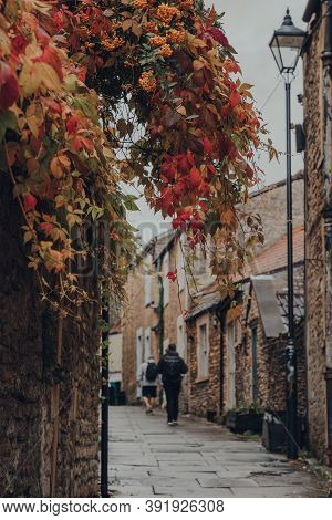 Red And Yellow Foliage On A Street In Frome, Uk, Unidentified People Walk On The Background, Selecti