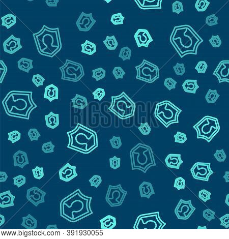 Green Line User Protection Icon Isolated Seamless Pattern On Blue Background. Secure User Login, Pas
