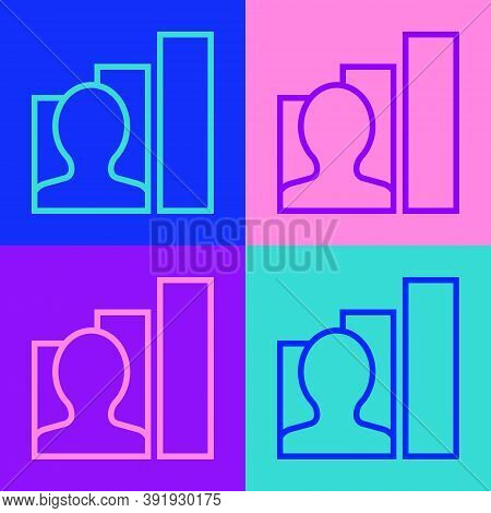 Pop Art Line Productive Human Icon Isolated On Color Background. Idea Work, Success, Productivity, V