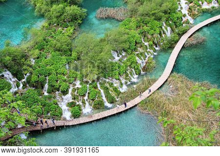 Plitvice Croatia - May 13, 2017: Aerial View Of Plitvice Lakes A Famous World Heritage Sights With P