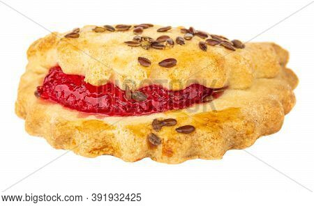 Shortbread Cookie With Raspberry Jam And Linseeds Isolated On White Background