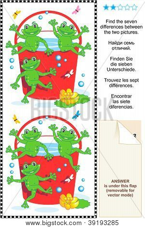 Picture puzzle: Find the seven differences between the two pictures with playful frogs and red bucket full of water. Answer included. poster