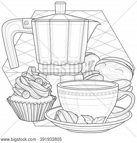 Coffee Maker, Cup And Desserts.coloring Book Antistress For Children And Adults. Illustration Isolat