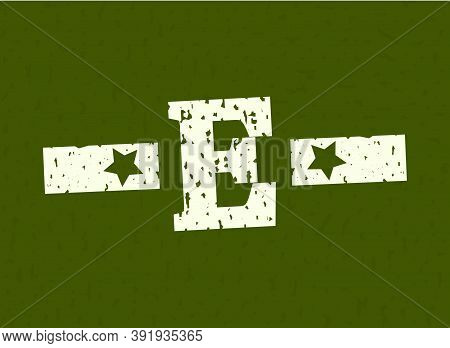 E Badge Letter Military, Army Design With Star On Camouflage Background. Grungy Font Vector Illustra