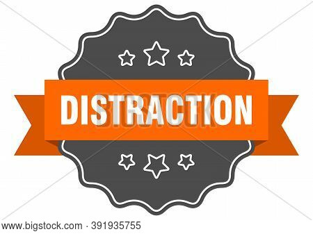 Distraction Label. Distraction Isolated Seal. Sticker. Sign