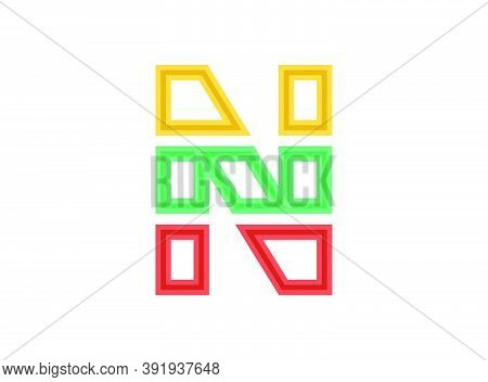 N Letter Logo, Vector Outline Stroke Font. Slice, Cut Design With Red, Green, Yellow Colors. For Des