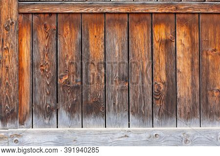 Weathered Wooden Plank Boards At Old Wall Background