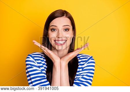 Look Perfect Strong Teeth Smile Concept. Positive Cheerful Demonstrate Hands Face Recommend Medical