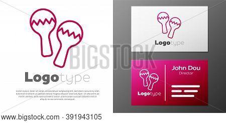 Logotype Line Maracas Icon Isolated On White Background. Music Maracas Instrument Mexico. Logo Desig