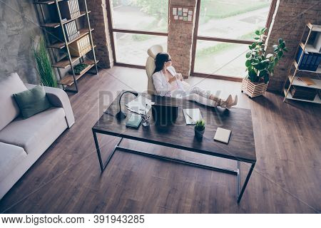 Top Above High Angle View Of Chic Elegant Lady Insurance Specialist Drinking Beverage Put Legs On De