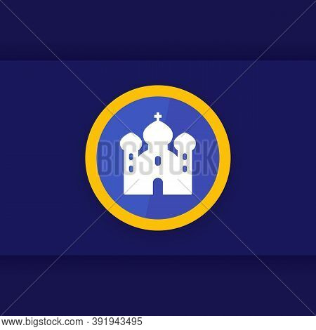 Church Icon, Christian Worship Place Vector, Eps 10 File, Easy To Edit
