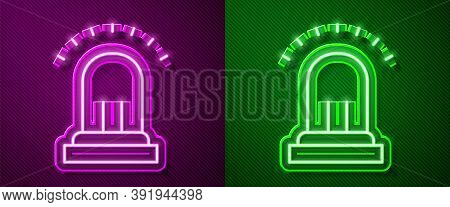 Glowing Neon Line Ringing Alarm Bell Icon Isolated On Purple And Green Background. Fire Alarm System