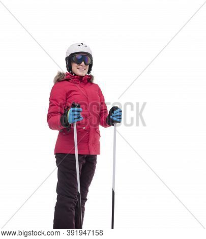 Beautiful Skier Isolated On A White Background.