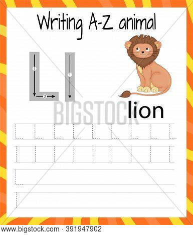 Handwriting Practice Sheet. Basic Writing. Educational Game For Children. Learning The Letters Of Th