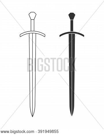 Sword Vector Illustration Icon. Military Or Heraldry Symbol. Protection And Security Sign. Medieval