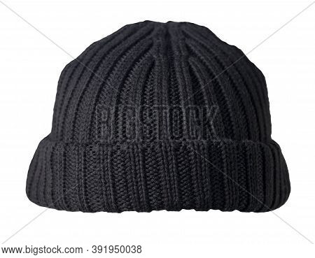 Docker Knitted Balck Hat Isolated On White Background. Fashionable Rapper Hat. Hat Fisherman