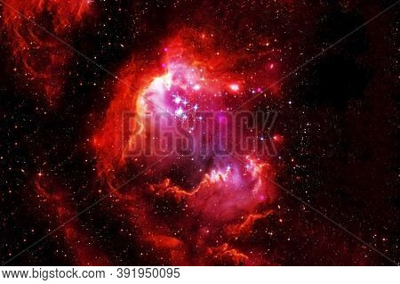 Red Galaxy With Stars And Nebulae. Elements Of This Image Furnished By Nasa Were.