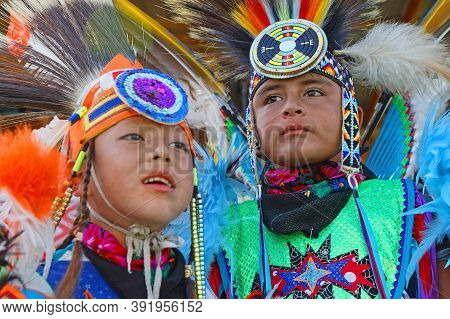 Bismark, North Dakota, September 8, 2018 : Children At 49Th Annual United Tribes Pow Wow, One Large