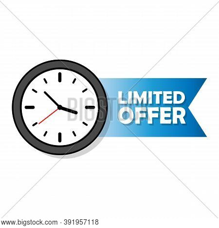 Alarm Clock Countdown Logo. Limited Offer Labels. Limited Time Offer Icon. Vector Eps10