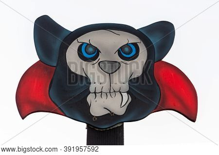 Halloween Vampire Flat Decoration, Sign With Vampire Head And Spooky Blue Eyes.