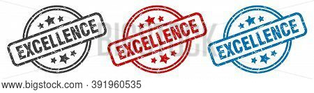 Excellence Stamp. Excellence Round Isolated Sign. Excellence Label Set