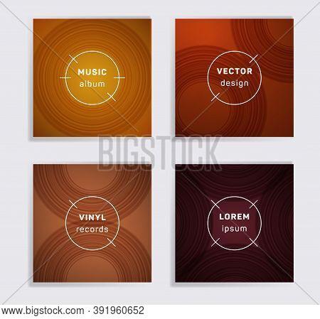 Cool Vinyl Records Music Album Covers Set. Semicircle Curve Lines Patterns. Minimalistic Creative Vi