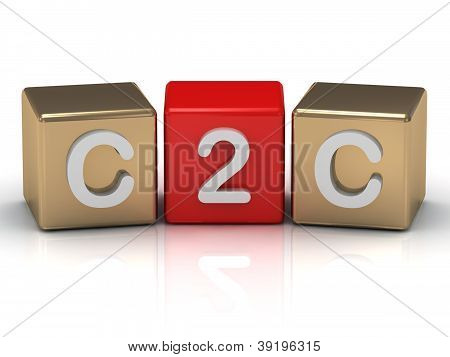 C2C Client to Client symbol on gold and red cubes on white background poster