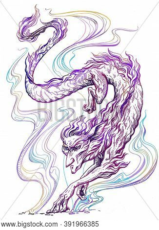 Strange Mythical Dragon-like Beast With A Human Face