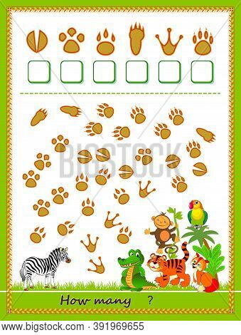 Math Education For Children. Count Quantity Of Tracks Left By Animals And Write Numbers. Developing