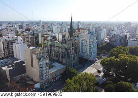 Aerial View By Drone Of Cathedral Of Mar Del Plata Or The Cathedral Basilica Of Saint Peter And Ceci