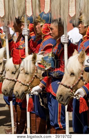 Mongolian Cavalry With Horses