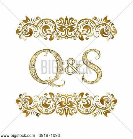Q And S Vintage Initials Logo Symbol. The Letters Are Surrounded By Ornamental Elements. Wedding Or
