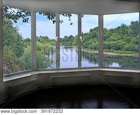 Room With Big Window With Panoramic View To Beautiful River. Landscape With Summer Landscape. Panora