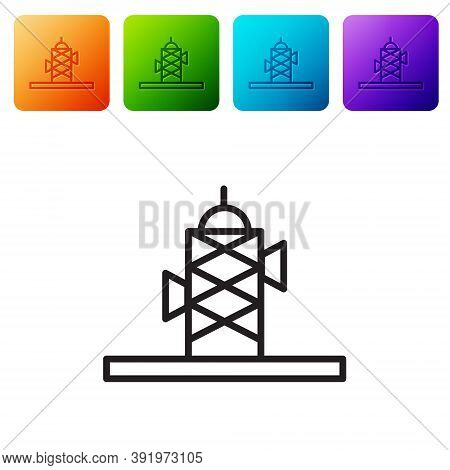 Set Antenna Icon Isolated On Pink And White, Black Background. Radio Antenna Wireless. Technology An