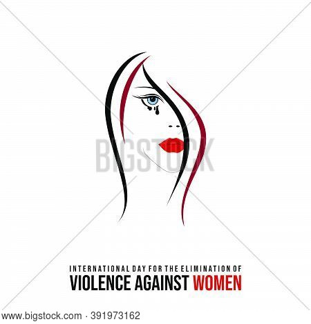 International Day For The Elimination Of Violence Against Women Design With Crying Women Vector Illu