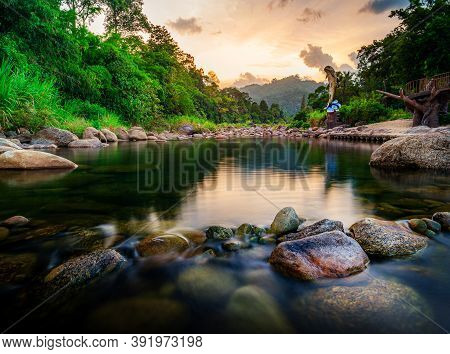 River Stone And Tree With Sky And Cloud Colorful, View Water River Tree, Stone River And Tree Leaf I