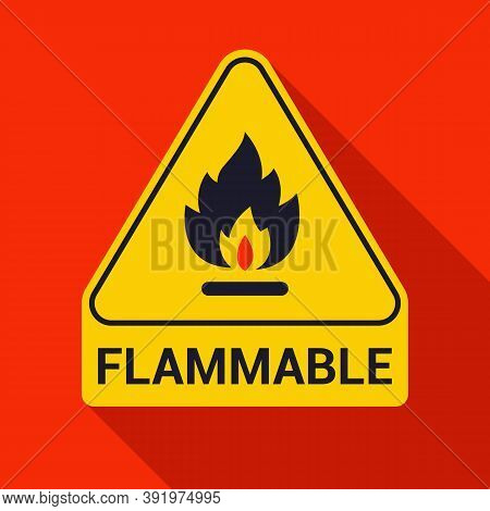 Fire Icon And Inscription Flammable. Yellow Warning Triangle On The Wall. Flat Vector Illustration.