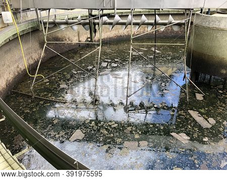 View Into A Secondary Clarifier In Which The Water Was Pumped Out For Cleaning Purposes