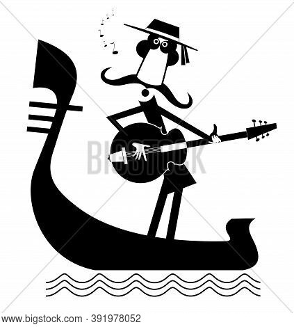 Man With Guitar And Gondola Illustration. Funny Gondolier With Long Mustaches Rides On Gondola Plays